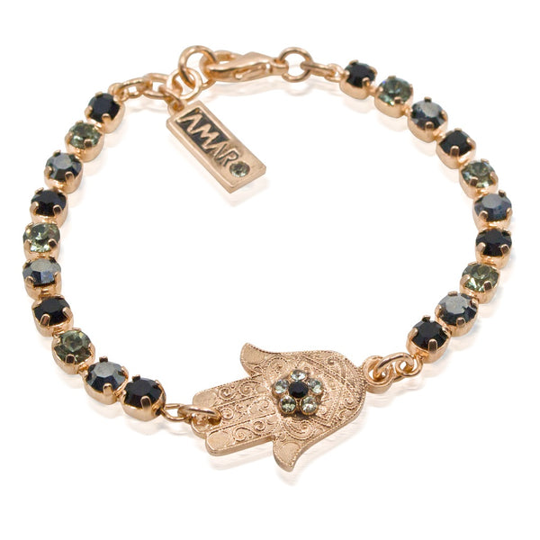Onyx and Crystal Hamsa Bracelet by AMARO