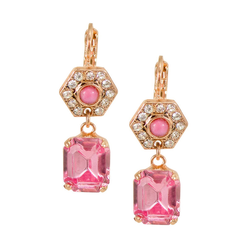 Pink Rose Crystal Drop Earrings by AMARO