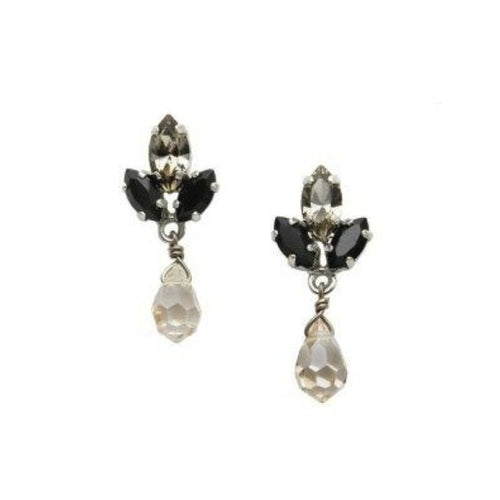 Pyrite and Crystal Drop Earrings by AMARO