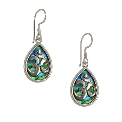 OM in Sanskrit Sterling Silver and Abalone Drop Earrings