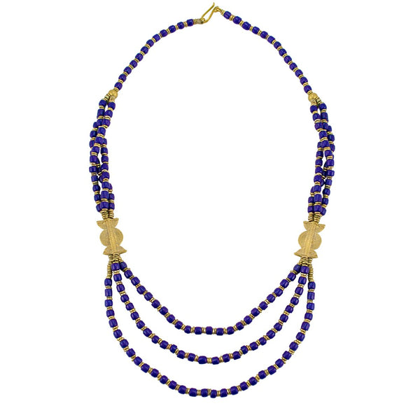 Navy Blue Ceramic Beads and Cast Brass African Necklace