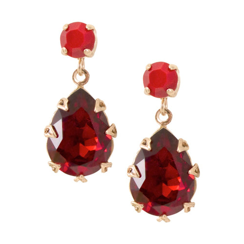 Red Crystal Drop Earrings by AMARO