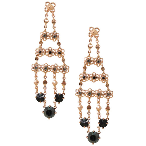 Elegant Crystal and Lace Chandelier Earrings by AMARO
