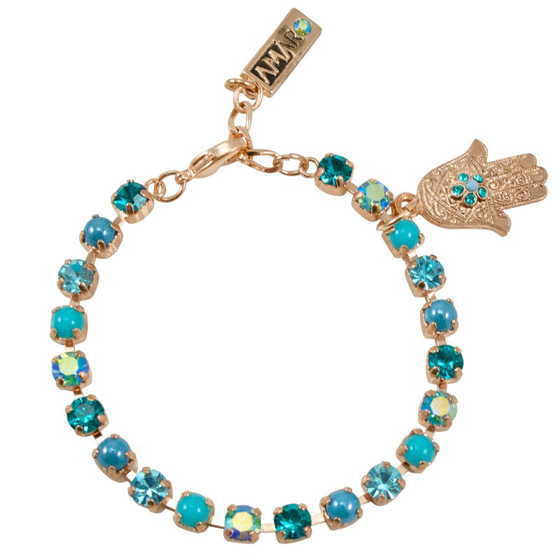 Turquoise and Crystal Hamsa Bracelet by AMARO