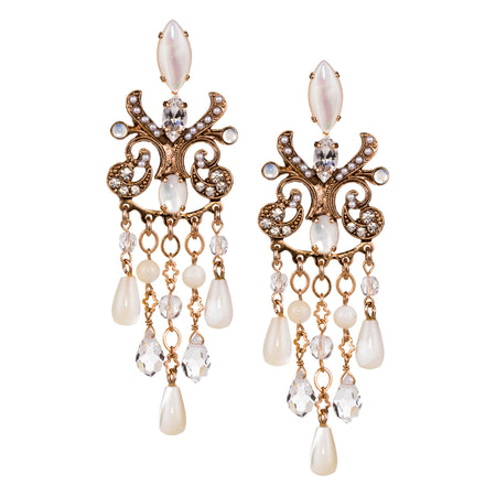 Crystal and Moonstone Drop Earrings by AMARO