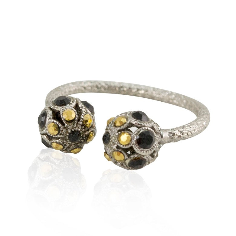 Onyx and Swarovski Crystal Adjustable Ring by AMARO