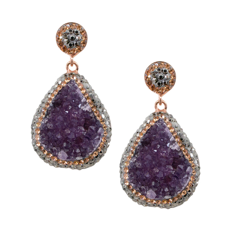 Sterling Silver Amethyst Druzy Quartz and Crystal Earrings