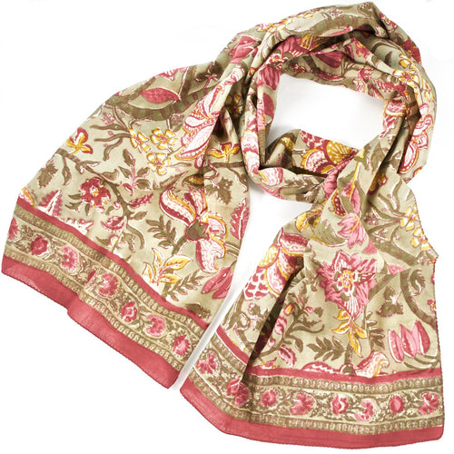 Hand Block Printed Scarf by Anokhi - Khaki Tapestry