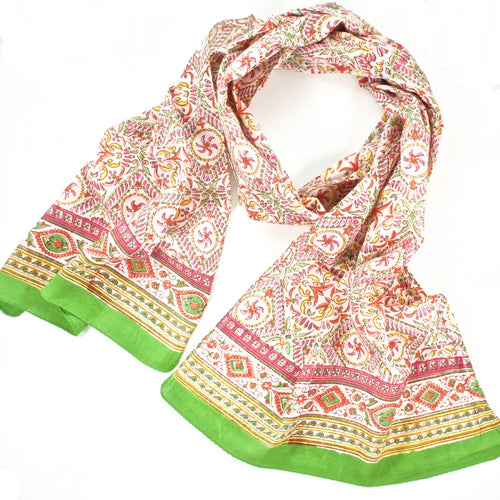 Hand Block Printed Scarf by Anokhi - Summer Kaliedoscope