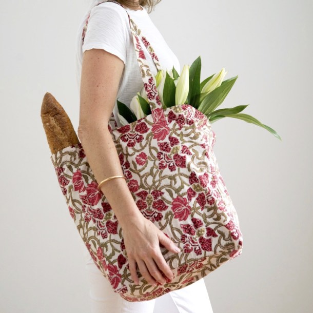 Hand Block Printed Shopper - Wine Trellis