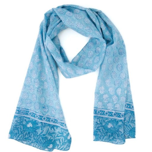 Hand Block Printed Scarf - Faded Flowers