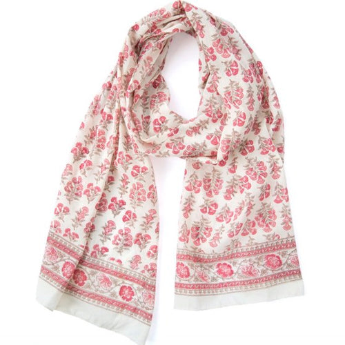 Hand Block Printed Scarf by Anokhi - Salmon Trumpet