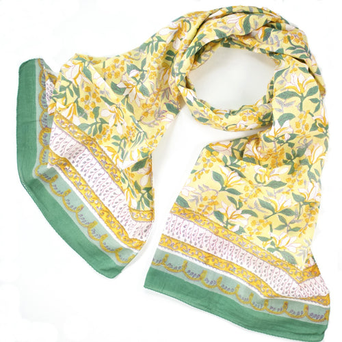 Hand Block Printed Scarf by Anokhi- Magnolia