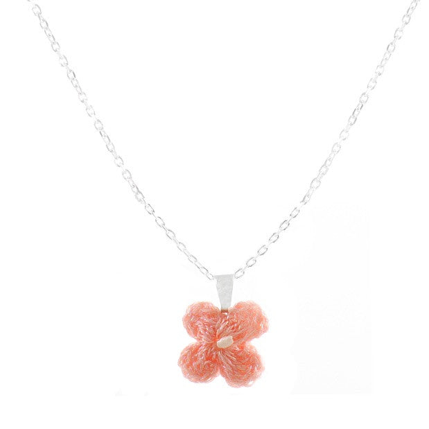 Hand Crocheted Flower Necklace - Pink