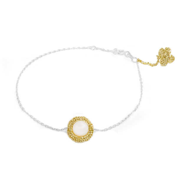 Gold Hand Crocheted and Pearl Bracelet by Atelier Godolé