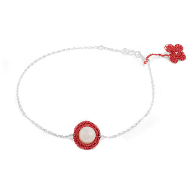 Red Hand Crocheted and Pearl Bracelet by Atelier Godolé