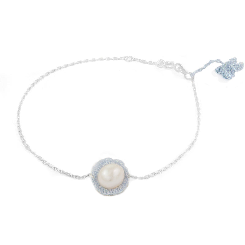 Baby Blue Hand Crocheted and Pearl Bracelet by Atelier Godolé