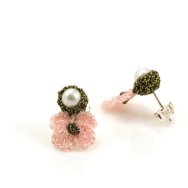 Soft Pink Hand Crocheted Flower Earrings by Atelier Godolé