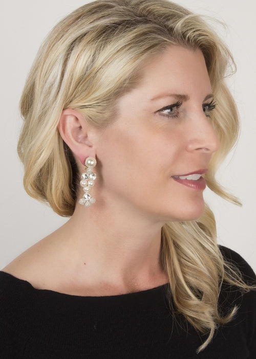 Silver and Pearl Drop Earrings by Atelier Godolé