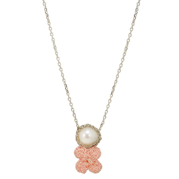 Pink Hand Crocheted Flower and Pearl Necklace by Atelier Godolé