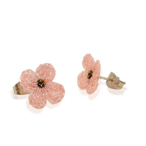 Pink Hand Crocheted Flower Earrings by Atelier Godolé
