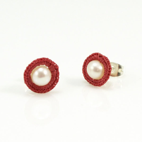 Pearl Stud and Crochet Wrapped Earrings by Atelier Godolé