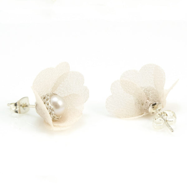 Pearl Studs with Silk Petals by Atelier Godolé