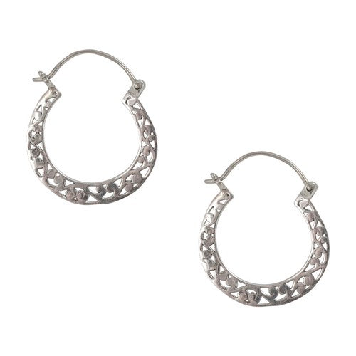 Balinese Filigree Silver Hoop Earrings