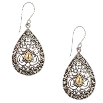 Traditional Balinese Filigree Silver and Gold Earrings