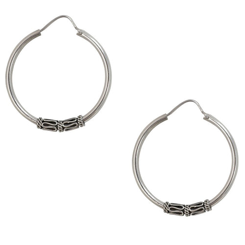 Sterling Silver Hoop Earrings with Detail