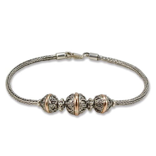 Balinese Three Ball Sterling Silver and 18K Gold Bracelet