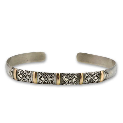 Balinese Sterling Silver and 18K Gold Bangle