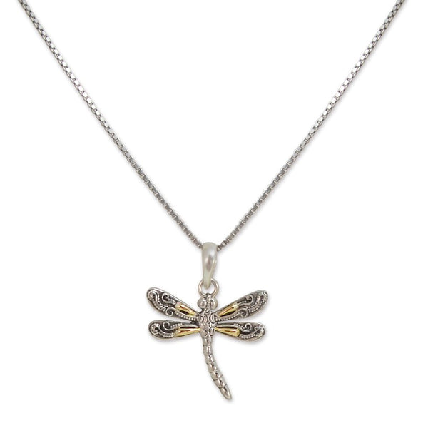 Balinese Sterling Silver and Gold Dragonfly Pendant **Chain Sold Separate**