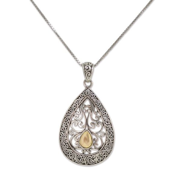 Traditional Balinese Sterling Silver and Gold Filigree Pendant **Chain Sold Separate**
