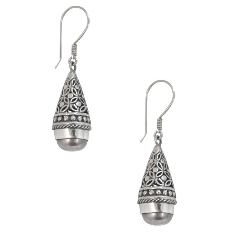 Silver Filigree and Black Pearl Drop Earrings