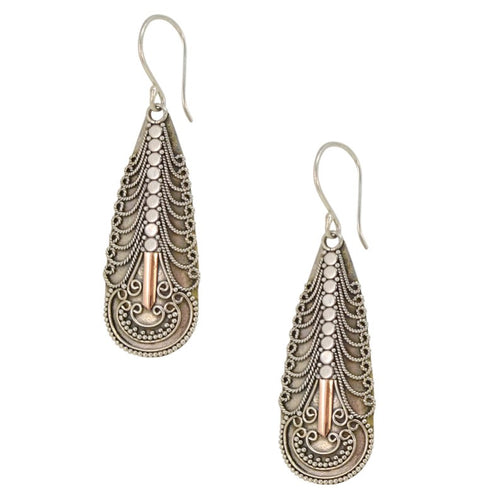 Traditional Balinese Sterling Silver and Gold Earrings