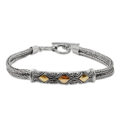 Balinese Sterling Silver and 18K Gold Bracelet
