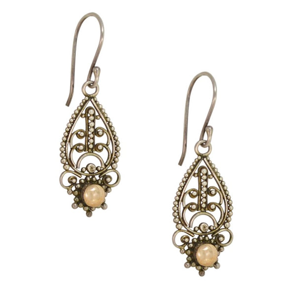 Traditional Balinese Sterling Silver and 18K Gold Filigree Earrings