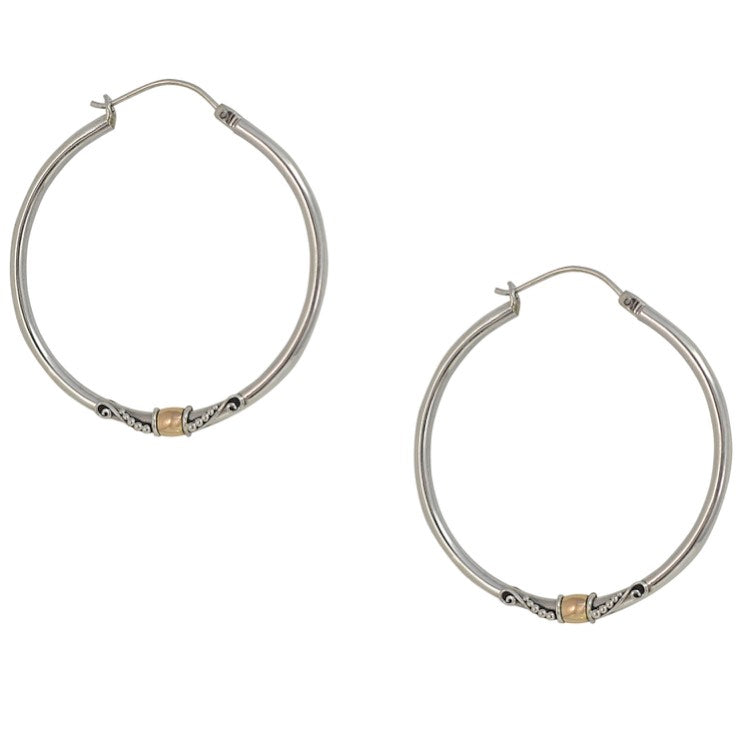Balinese Sterling Silver and 18K Gold Hoop Earrings