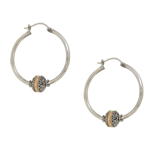 Traditional Balinese Sterling Silver and 18K Gold Hoop Earrings