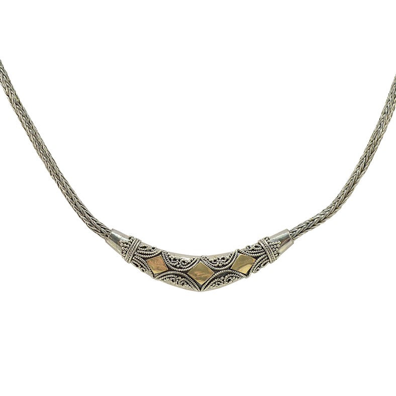 Balinese Sterling Silver and 18K Gold Necklace