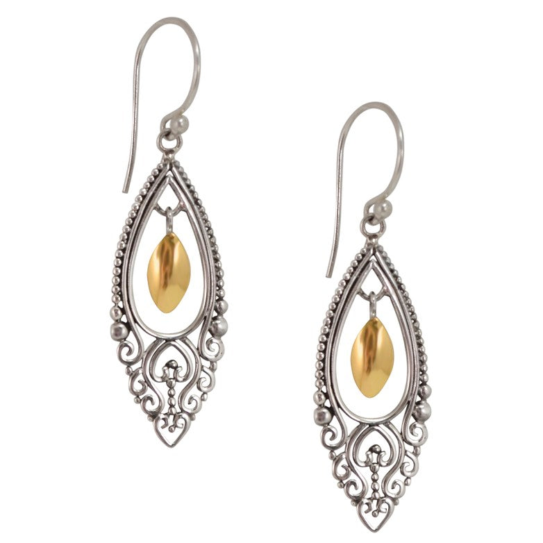 Traditional Balinese Filigree Silver and 18K Gold Earrings