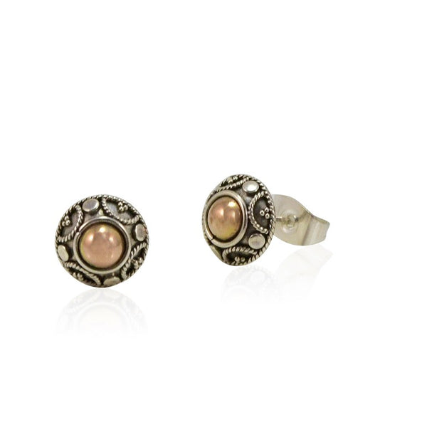 Balinese Sterling Silver and Gold Post Earrings