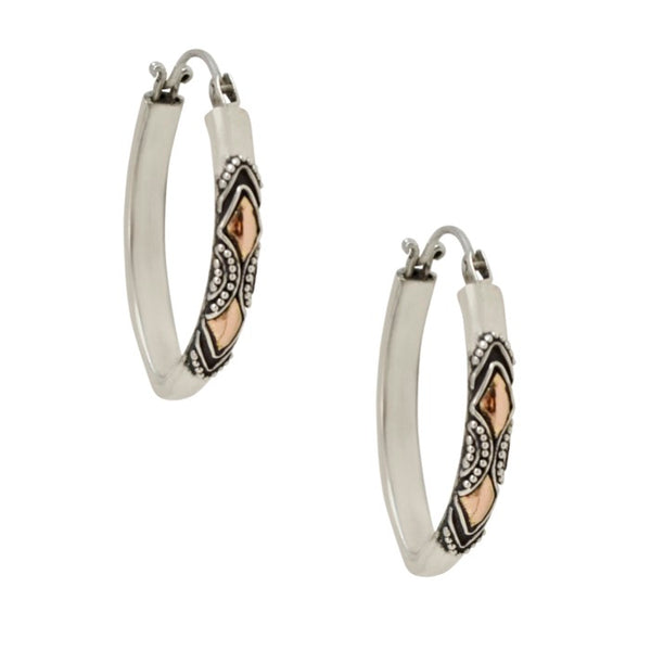 Balinese Filigree Silver and 18K Gold Oblong Hoop Earrings