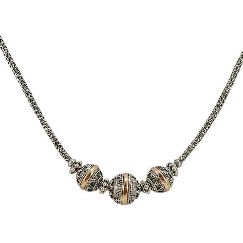 Three Ball Balinese Sterling Silver and 18K Gold Necklace