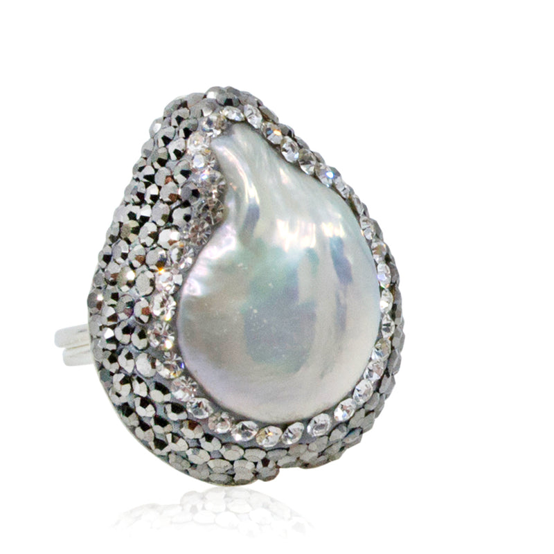 Sparkling Baroque Pearl Adjustable Ring