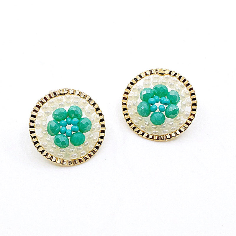 Gold and Turquoise Hand Beaded Disc Earrings