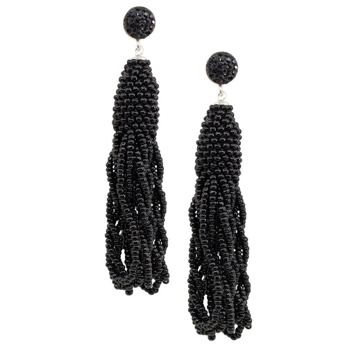 Black Bead Tassel Earrings