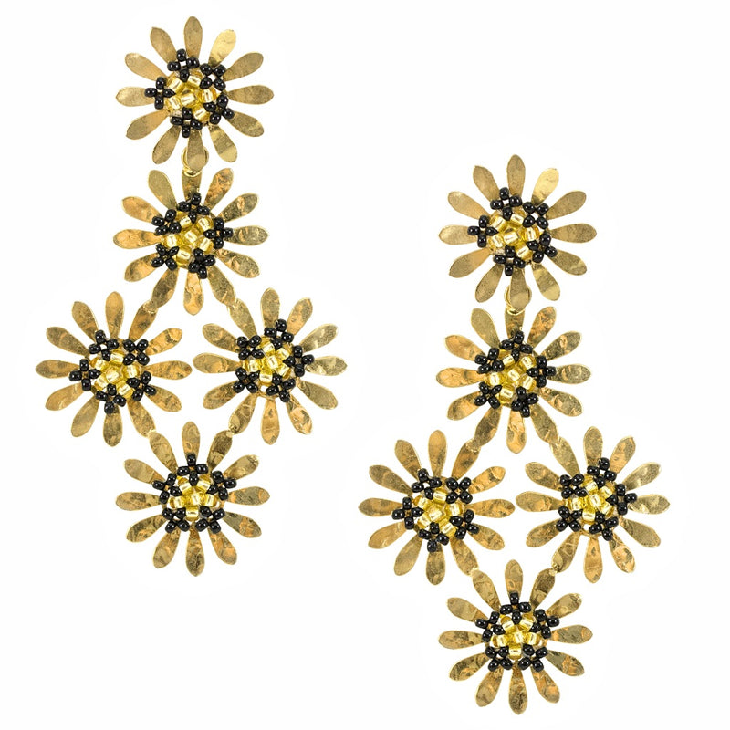 Gold Flower and Black Bead Statement Earrings