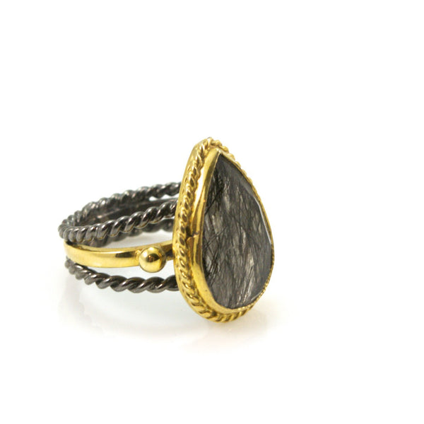 Black Tourmaline and Sterling Silver Ring